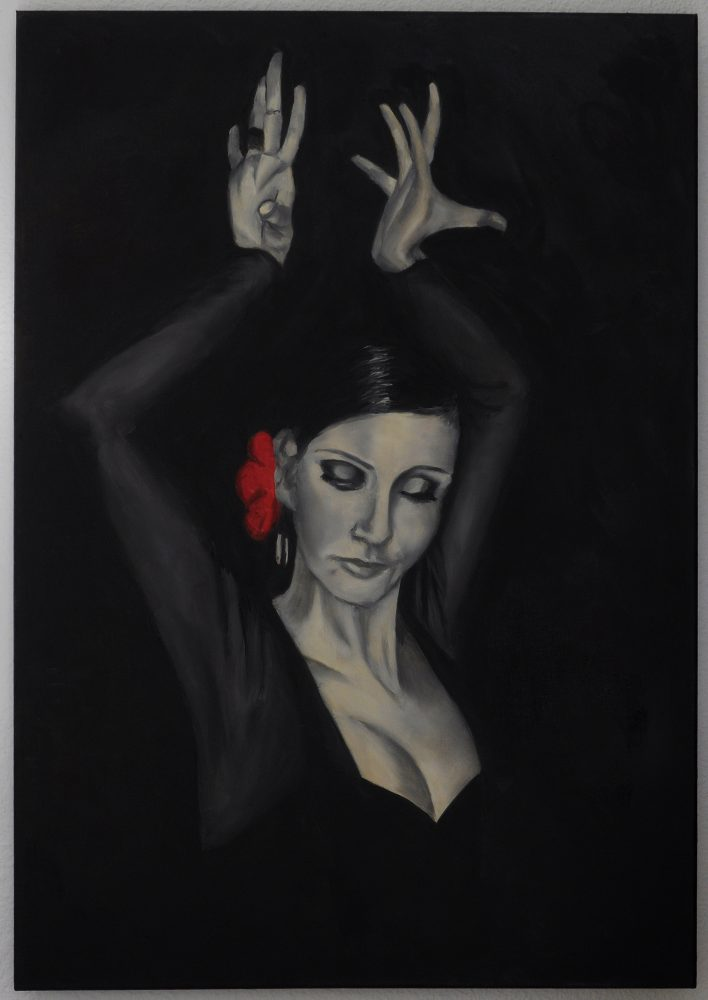 The drama of flamenco is often shown in the hands.  The dancer is in thrall to the hypnotic music. Oil on canvas 50x70 cm.