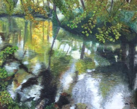 """Autumn at Wentworth and as the river waters ripple, golden colours reflect in the water.  Acrylic on canvas 20""""x16"""""""