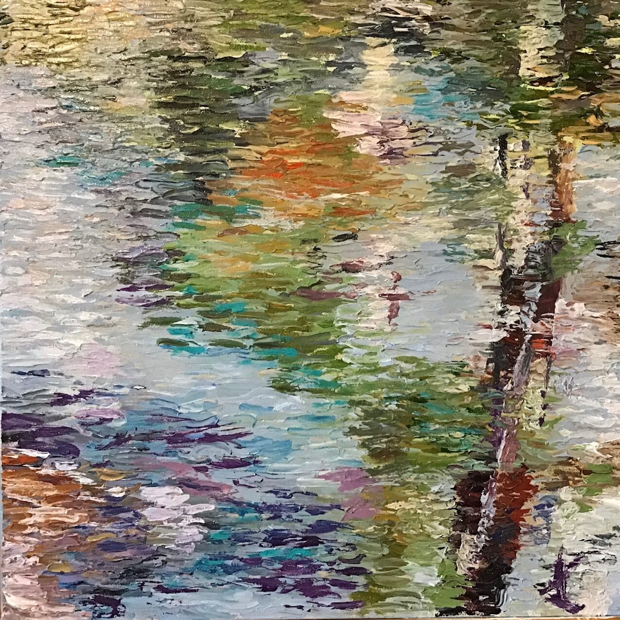 Impressionist style abstract of reflections in water Oil on canvas. 40/40cm